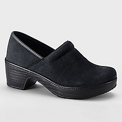 Lands' End - Black women's wide camden clog shoes