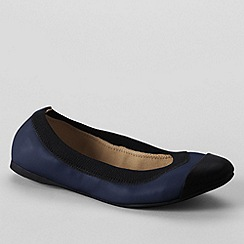 Lands' End - Blue women's wide eliza ballet pumps