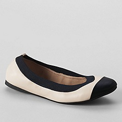 Lands' End - Cream women's wide eliza ballet pumps