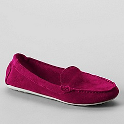 Lands' End - Pink women's regular adie suede loafers