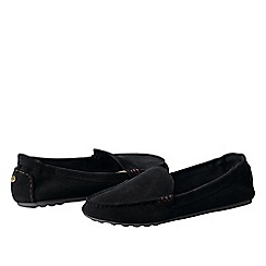 Lands' End - Black women's regular adie suede loafers