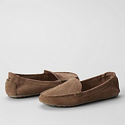Lands' End - Beige women's regular adie suede loafers