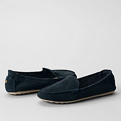 Lands' End - Blue women's regular adie suede loafers