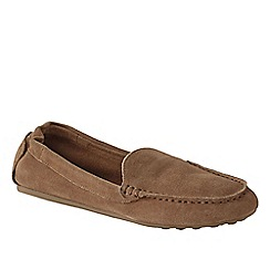 Lands' End - Brown women's regular adie suede loafers