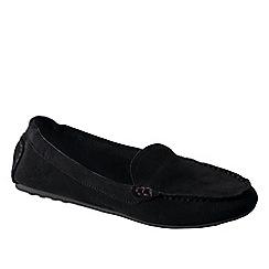 Lands' End - Black women's wide adie suede loafers