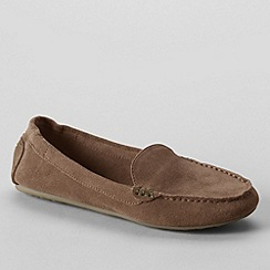 Lands' End - Beige women's wide adie suede loafers
