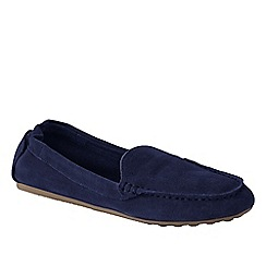 Lands' End - Blue women's wide adie suede loafers