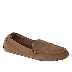 Lands' End - Brown women's wide adie suede loafers