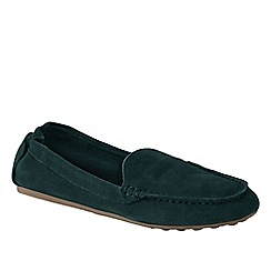 Lands' End - Green women's wide adie suede loafers