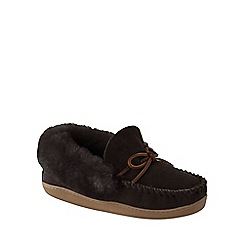 Lands' End - Brown women's shearling moccasin slippers