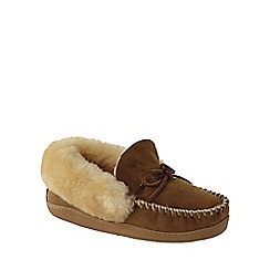 Lands' End - Beige women's shearling moccasin slippers