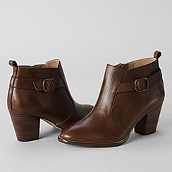 Lands' End - Brown women's tory buckle ankle boots