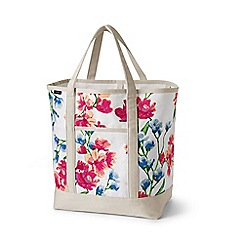 Lands' End - Cream large open top print canvas tote