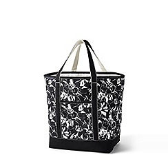 Lands' End - Black large open top print canvas tote