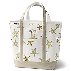 Lands' End - White open top print canvas tote
