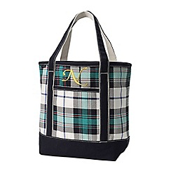 Lands' End - White print medium open top tote bag