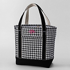 Lands' End - Black print medium open top tote bag
