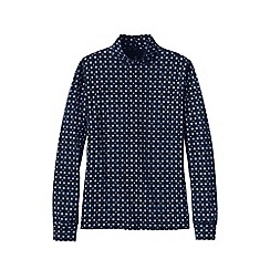 Lands' End - Blue women's patterned polo neck