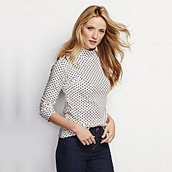 Lands' End - Cream women's patterned polo neck