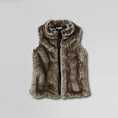 Lands' End - Brown girls' open front faux fur vest