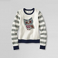 Lands' End - Cream girls' novelty crewneck sweater