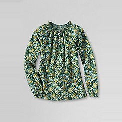 Lands' End - Green girls' long sleeve pattern smocked woven top