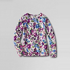 Lands' End - Cream girls' long sleeve french terry pattern sweatshirt