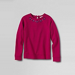 Lands' End - Pink girls' long sleeve rhinestone french terry sweatshirt