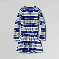 Lands' End - Blue girls' long sleeve crewneck drop waist dress