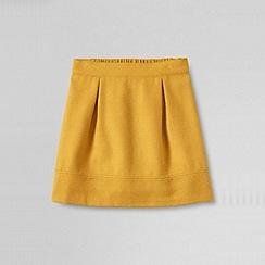 Lands' End - Gold girls' plain woven a-line skirt