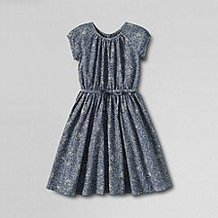 Lands' End - Blue girls' short sleeve woven twirl dress