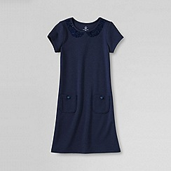 Lands' End - Blue girls' short sleeve peter pan collar dress