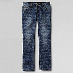 Lands' End - Blue girls' patterned pencil leg jeans