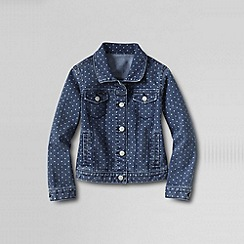 Lands' End - Blue girls' dot print denim jacket