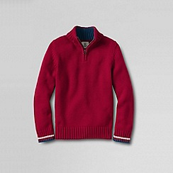 Lands' End - Red little boys' zip-neck cotton sweater