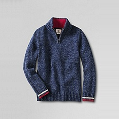 Lands' End - Blue boys' zip-neck cotton sweater