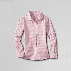 Lands' End - Pink girls' peter pan collar woven shirt