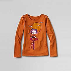 Lands' End - Orange girls' scallop-edge graphic tee