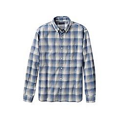 Lands' End - Blue men's plaid oxford shirt