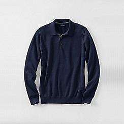 Lands' End - Blue men's fine gauge polo sweater