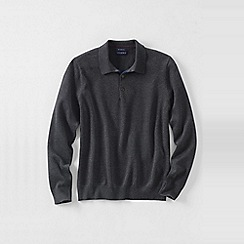 Lands' End - Grey men's fine gauge polo sweater
