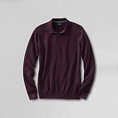 Lands' End - Red men's fine gauge polo sweater