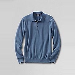 Lands' End - Blue men's fine gauge polo sweater