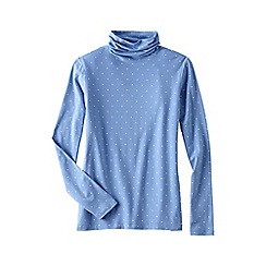 Lands' End - Blue women's petite cotton modal roll neck jumper