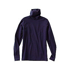 Lands' End - Purple women's regular fitted cotton/modal striped roll neck