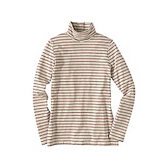 Lands' End - Cream women's regular fitted cotton/modal striped roll neck