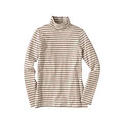 Lands' End - Cream women's regular fitted cotton/modal striped roll neck