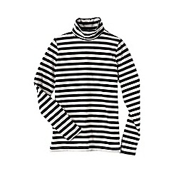 Lands' End - Black women's regular fitted cotton/modal striped roll neck
