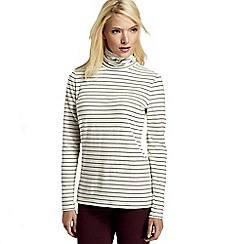 Lands' End - Multi women's regular fitted cotton/modal striped roll neck