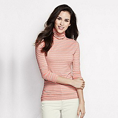 Lands' End - Pink women's cotton/modal striped roll neck